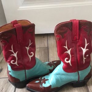 Lucchese Women's Red Blue Brown Cowboy Boots